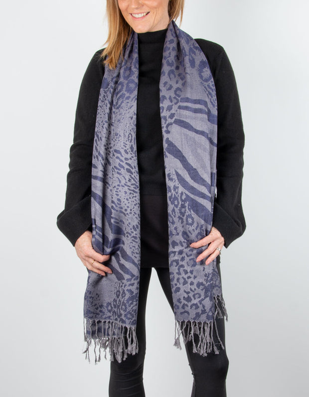 Image showing a Animal Print Pashmina Blue
