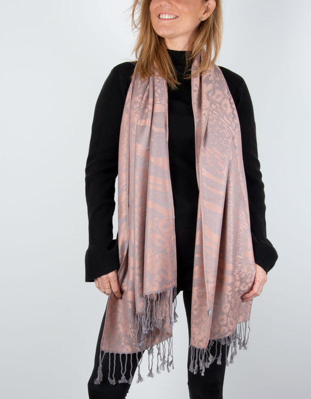 Image showing a Animal Print Pashmina Dusky Pink