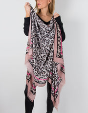 an image showing a pink and black animal print scarf