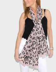 Animal Print Pink And Black Scarf