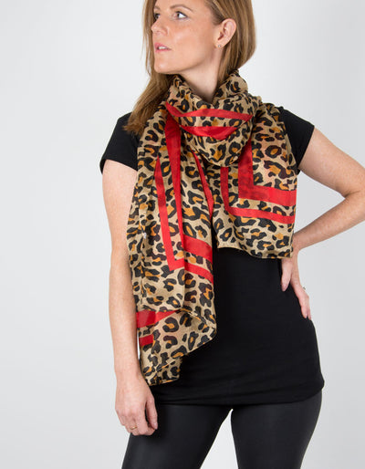 Image showing a Animal Print Silk Scarf Red Border