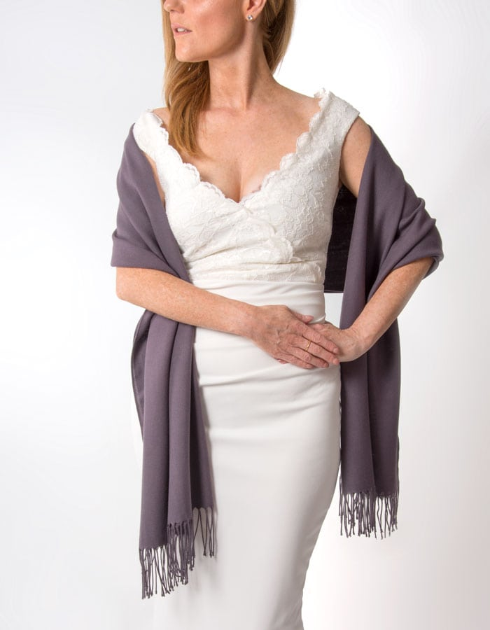 an image showing an aubergine wedding pashmina