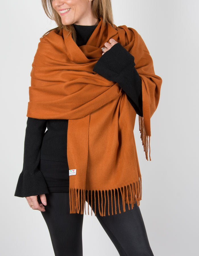 Image showing Orange Winter Pashmina