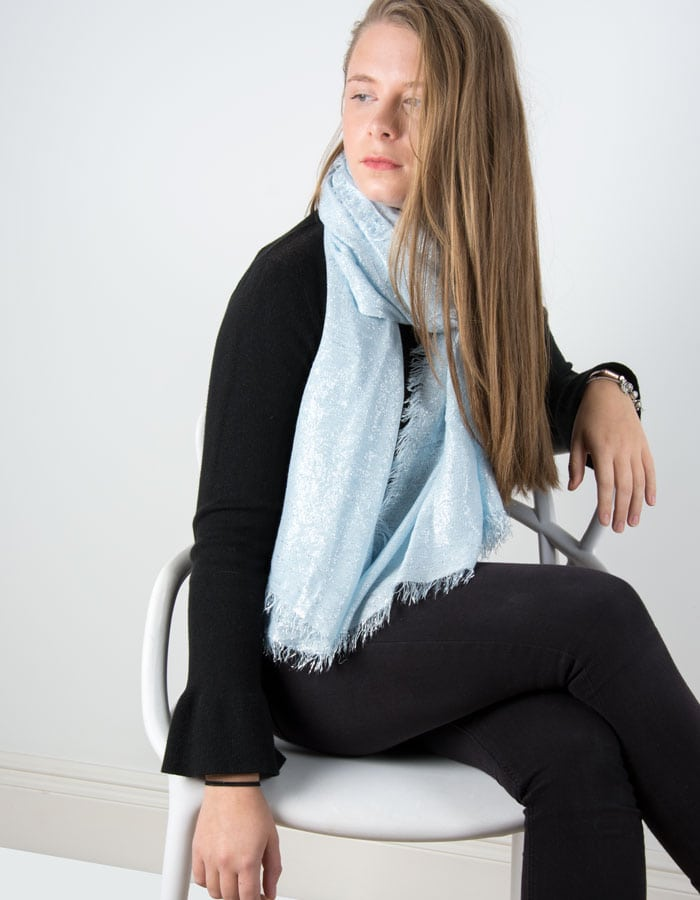 Image showing a baby blue metallic pashmina in A Sprinkle of Glitter blog