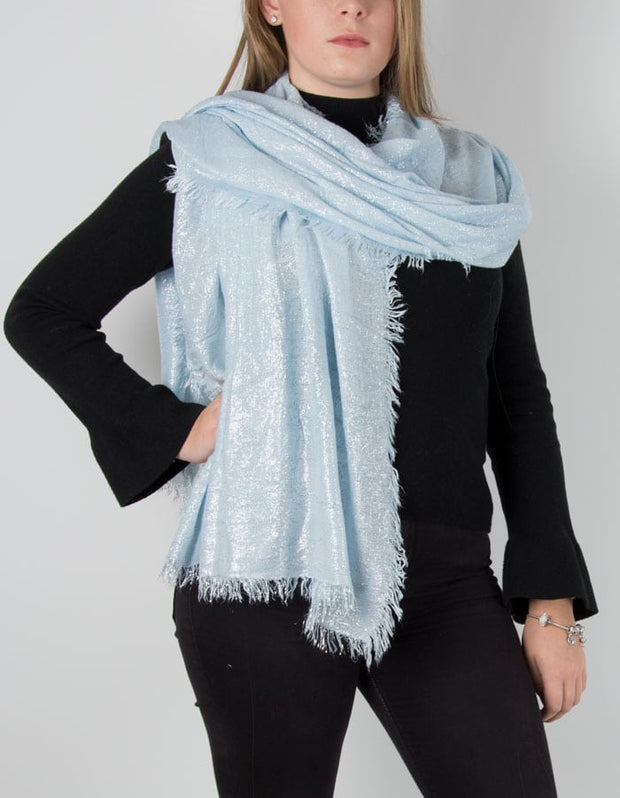 Baby Blue Metallic Pashmina