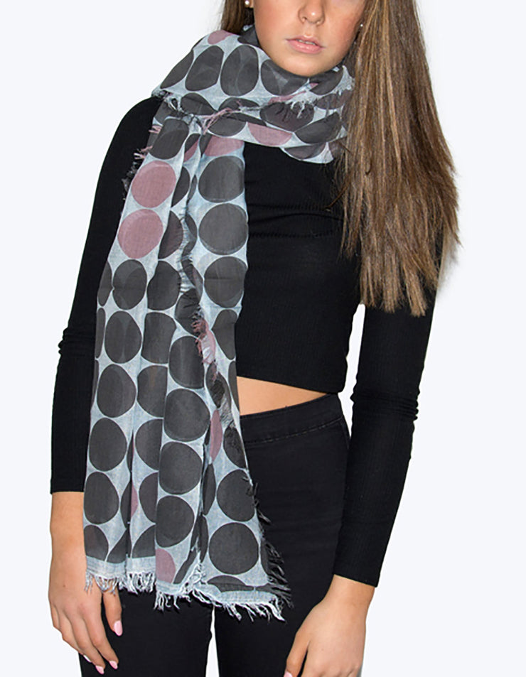 Baby Blue, Charcoal And Pink Large Polka Dot Italian MicroModal Scarf