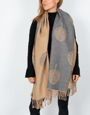 an image showing a beige and grey mulberry print blanket scarf