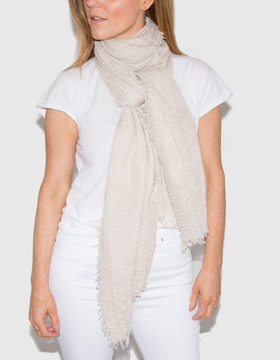 Image Showing Beige Cotton Mix Scarf