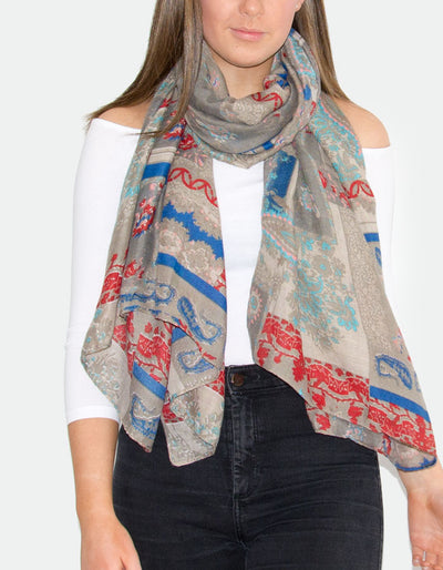 Beige Floral Paisley Scarf