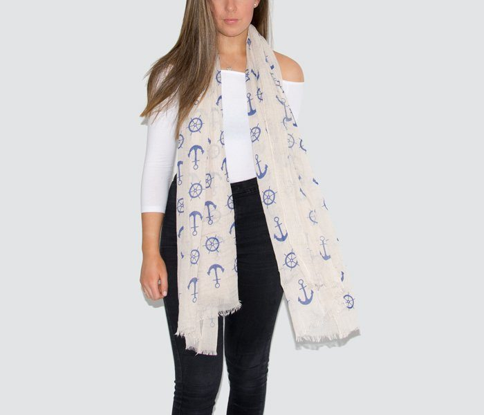 Beige Mini Anchor Print Scarf