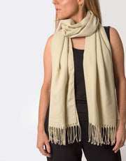 an image showing a beige pashmina