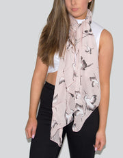Bird Print Italian Silk Mix Scarf - Pink