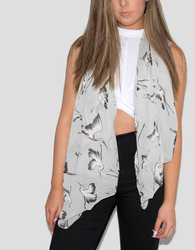 an image showing a grey bird print scarf