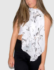an image showing a white bird print scarf