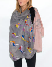 an image showing a bird print scarf