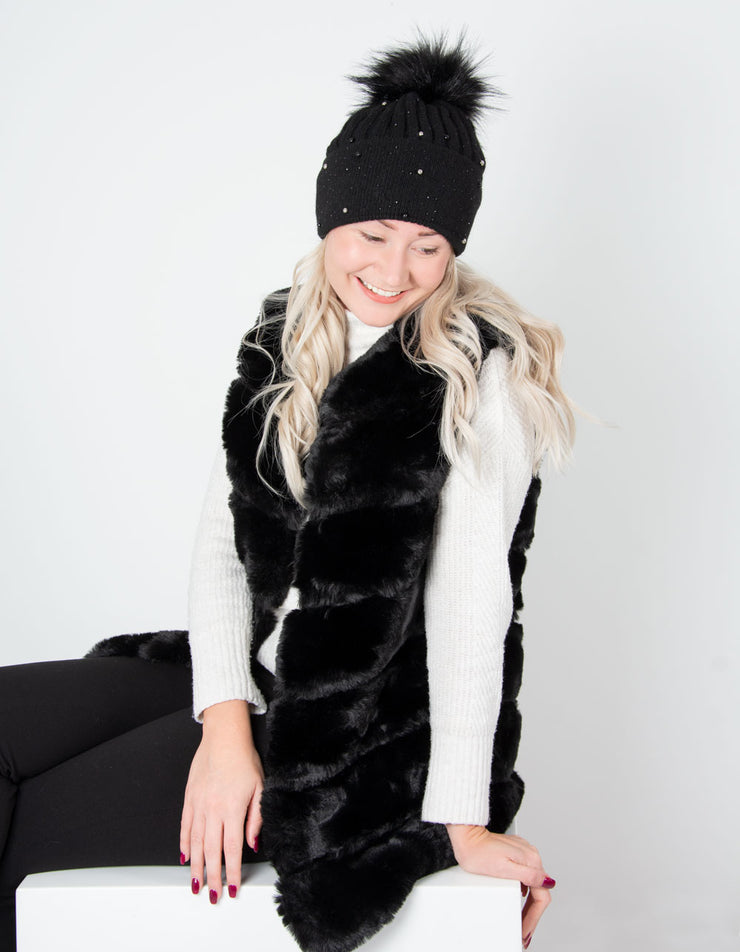 an image showing a black diamante and pearl cashmere bobble hat