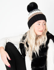 Black Bobble Hat Striped