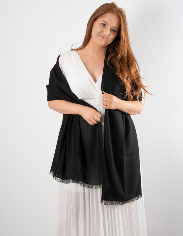 an image showing a black cashmere pashmina for weddings