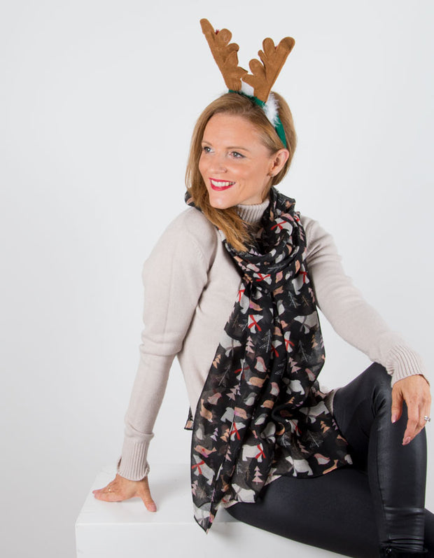 an image showing a Black Christmas Animal Scarf