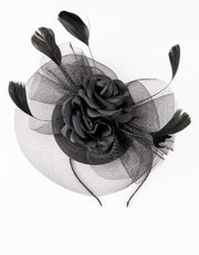 Black Double Flower Fascinator