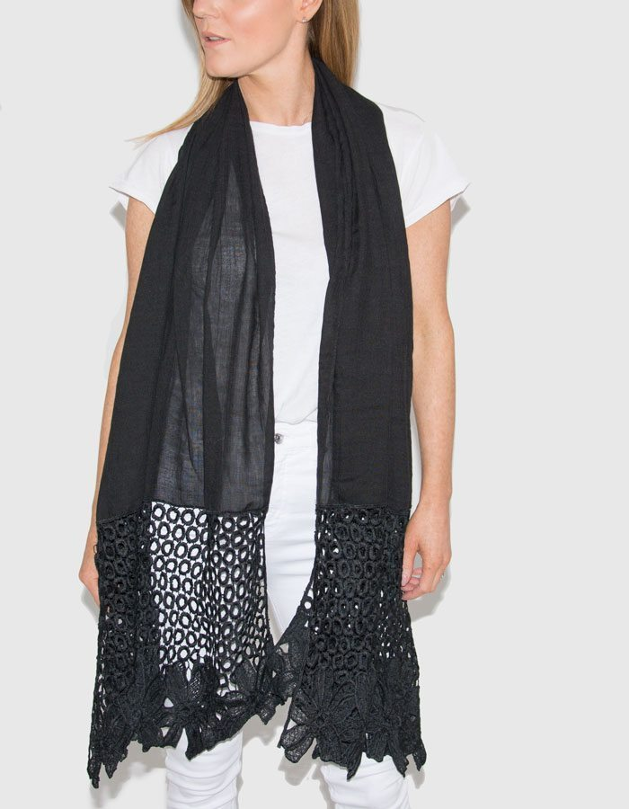 Image Showing Black Lace Scarf