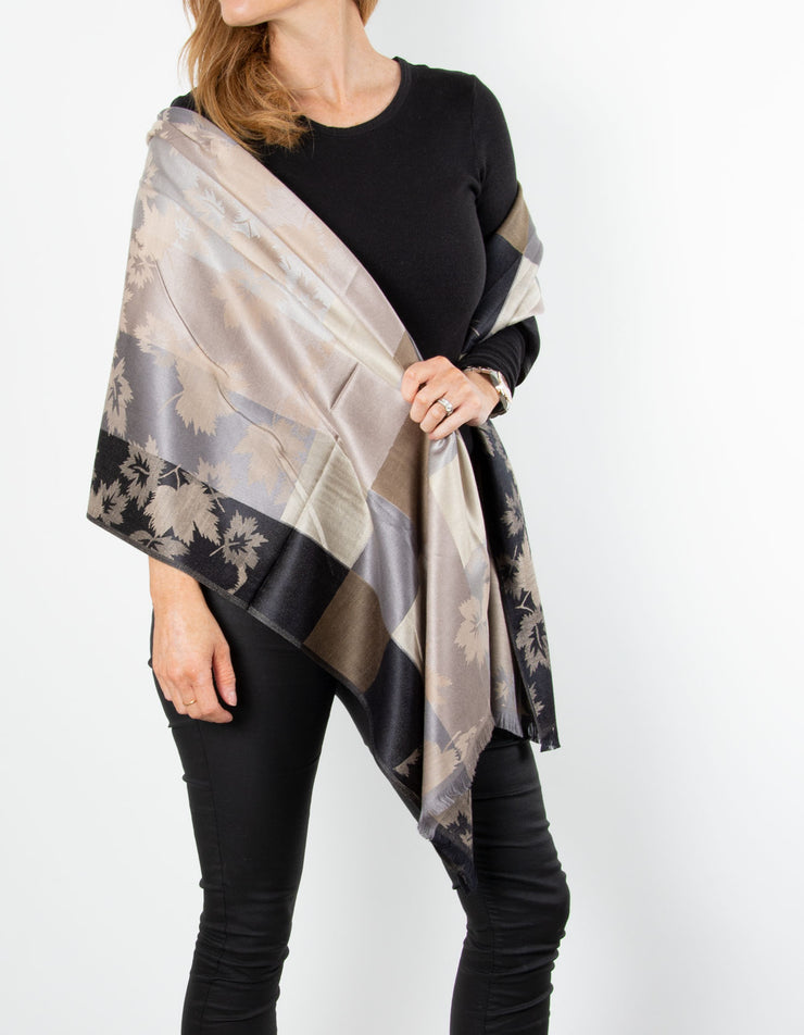 Black And Gold Leaf Print Patterned Pashmina