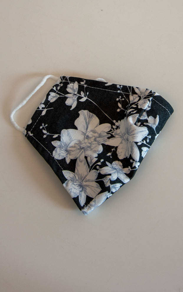 Black and White Floral Face Covering