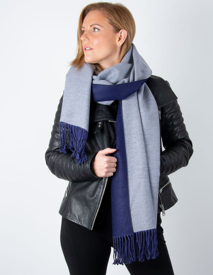 Blue And Grey Reversible Blanket Scarf