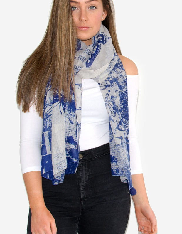Blue Butterfly And Print Scarf