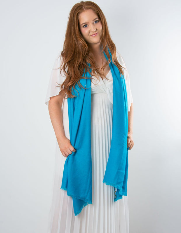 an image showing a blue cashmere pashmina for weddings