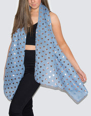 Image showing a Blue and Gold Heart Scarf
