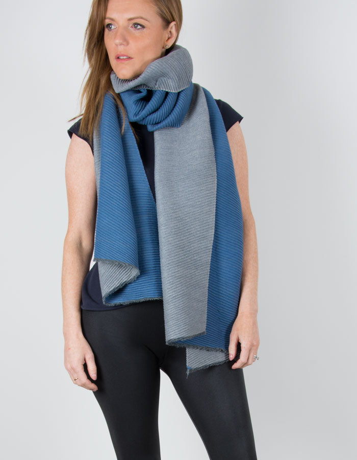 Image showing a Blue Reversible Scarf