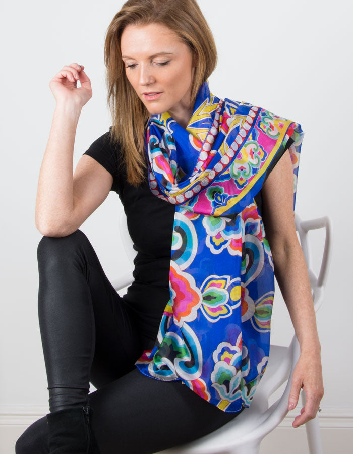 Image showing a Blue Silk Scarf Patterned