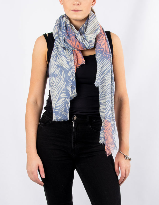 Blue And Coral Abstract Print Scarf