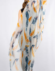 Blue And Orange Feather Print Scarf