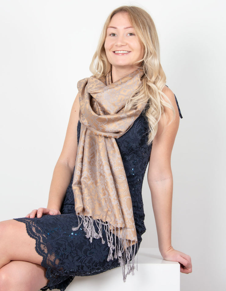 Bronze And Grey Floral Reversible Print Pashmina