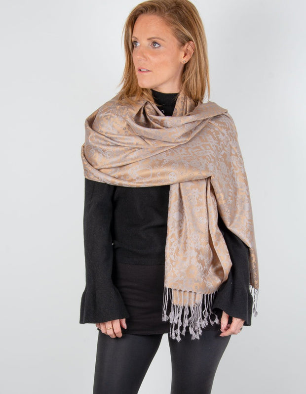 Image showing a Bronze & Grey Floral Patterned pashmina