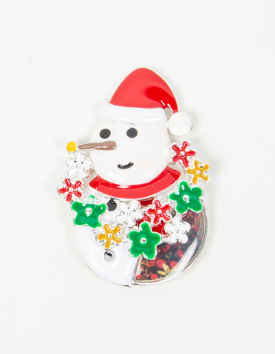 Brooch | Snowman | White, Red & Green