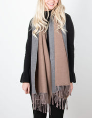 Brown And Grey Reversible Blanket Scarf