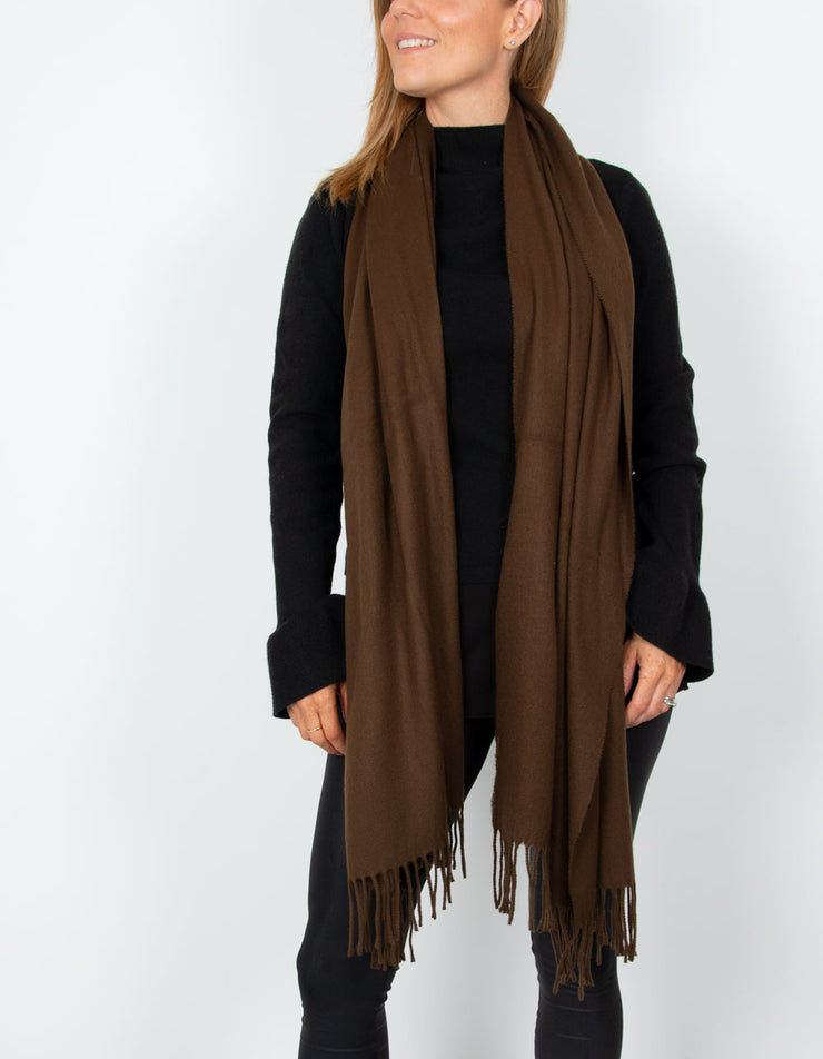 an image showing a brown blanket scarf