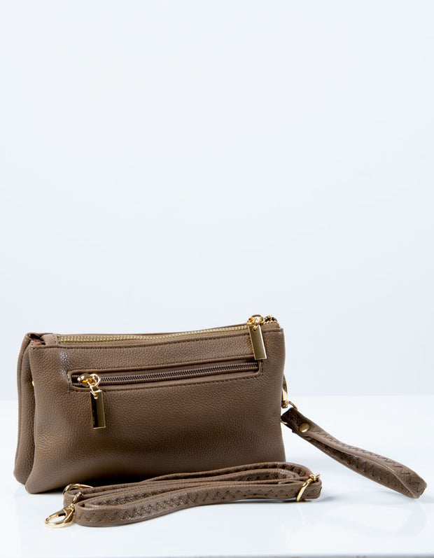 an image of a brown clutch bag
