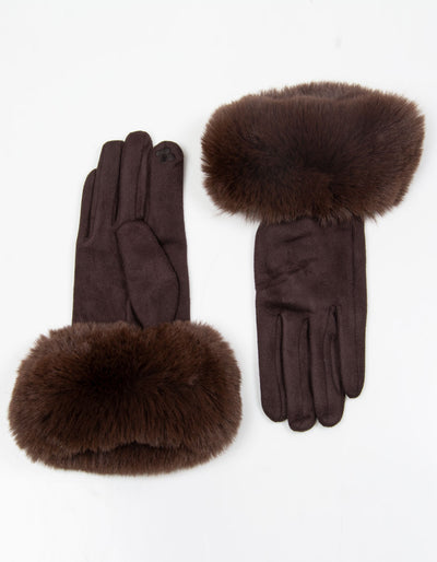 Brown Faux Fur Gloves