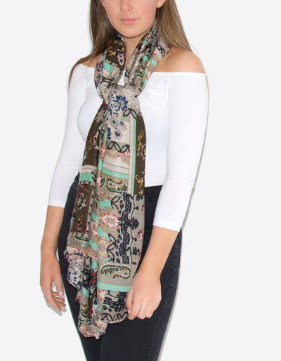 Brown Floral Paisley Scarf