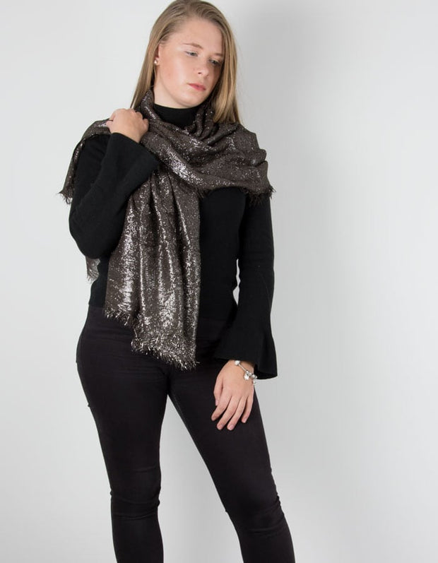 an image showing a brown metallic pashmina