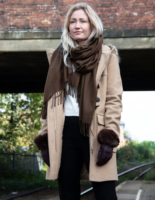 an image showing a winter pashmina in brown