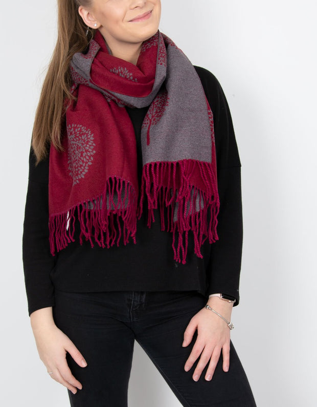 an image showing a mulberry and grey mulberry print blanket scarf