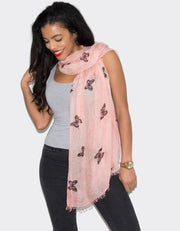 an image showing a butterfly print scarfan image showing a butterfly print scarf