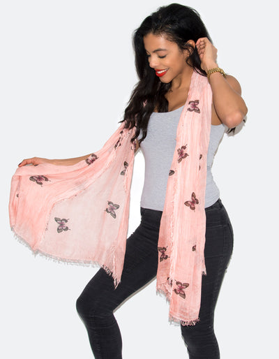 an image showing a butterfly print scarf