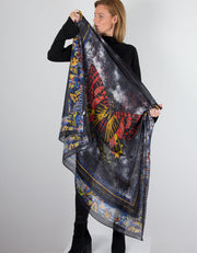 Image of Black Silk Scarf Butterfly Print