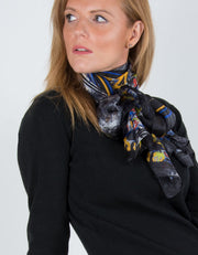 Black Silk Scarf Butterfly Print